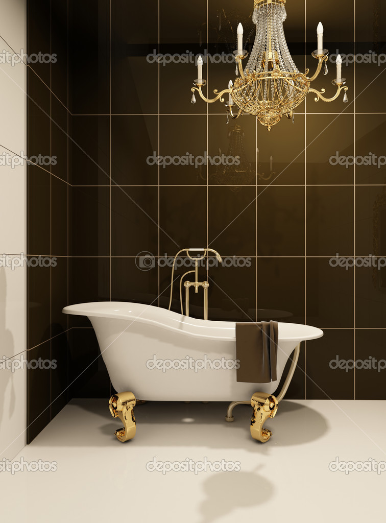 Luxury bath in bathroom. Royal apartment. Baroque furniture in luxurious space. Decorative golden chandelier. Tile  Stock Photo #5315457