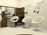 Luxurious interior of a hairdressing salon — Stock Photo