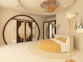 Round bed in a luxurious bedroom with a suspended ceiling — Stock Photo