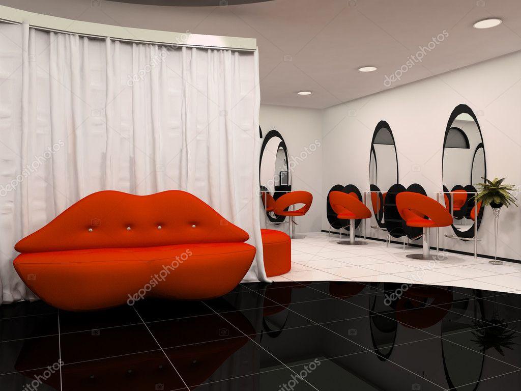 Sofá labios rojos en el salón de belleza interior — Foto ...