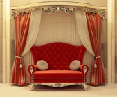 Red velvet curtain and royal sofa — Stock Photo