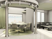 Interior of modern kitchen with round construction — ストック写真