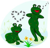 Funny and carefree frogs. — Stock Vector