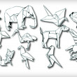 Origami Animals Set (vector) — 图库矢量图片