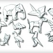 Origami Animals Set (vector) — Stockvektor