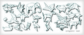 Origami Animals Set (vector) — Stok Vektör