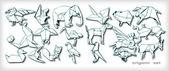 Origami Animals Set (vector) — Stock Vector