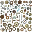 Big collection old rusty Screw heads, bolts, steel nuts,old metal nail — Stock Photo