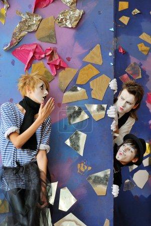 Постер, плакат: Mime actors, холст на подрамнике