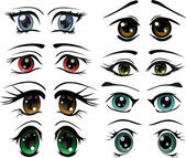 The complete set of the drawn eyes animation cosmetics cartoon makeup doll