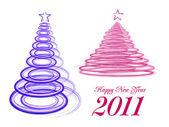 Stylizované vánoční strom na bílém pozadí