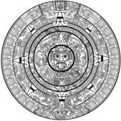 Vector Maya calendar - over white
