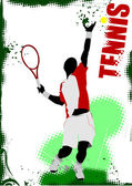 Tennis player poster Colored Vector illustration for designers