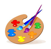 Vector color illustration of paintbrushes and a palette with basic colors