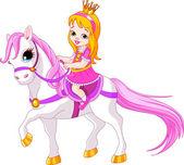 Cute little princess riding on a horse