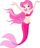 Ilustration of a cute mermaid girl under the sea