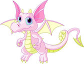 Illustration of Cute Cartoon baby dragon flaying