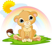 A cute character of happy lion cub on sunny day