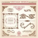 Calligraphic elements vintage ornament set. Vector frame