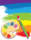 Paintbrush palette on rainbow color painted canvas Vector illustration Brush palette and painted canvas are layered