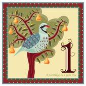 Religious card with The 12 Days of Christmas - 1-st day - A partridge in a pear tree Vector illustration saved as EPS AI 8 no filters easy print
