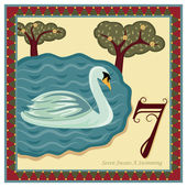 The 12 Days of Christmas - 7th Day - Seven Swans A Swimming Vector illustration saved as EPS AI 8 no gradients no effects easy print