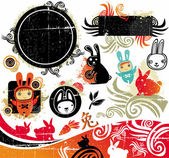 Cartoon oriental vector set of cute bunnies grunge design elements 2011 is the Year of the Rabbit according to the Chinese Zodiac