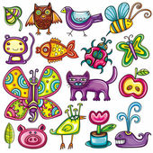 Flora and fauna theme Cartoon vector set of colorful icons of animals birds and plants