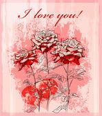 Vörös rózsa és a szív Valentin-nap-üdvözlőlap