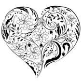 Tvaru srdce vyrobený z květů