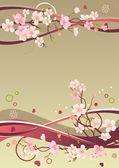 Rám s srdce a kvetoucí větve