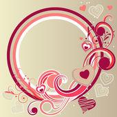 Rám s srdce a krouživým pohybem prvky