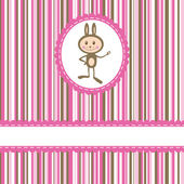 Invitation card with funny rabbit on stripe background