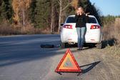 Mladá žena stál její poškozené auto a volá o pomoc