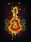 Acoustic Electric With Abstract Swirl isolated on BackgroundVector