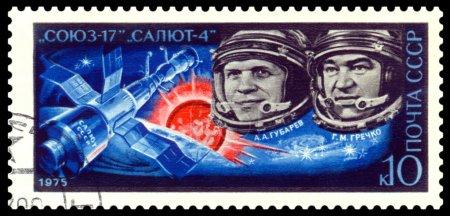 Постер, плакат: Vintage postage stamp Astronauts Gubarev and Grechko , холст на подрамнике