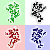 Vector monkeys in traditional american indians' style