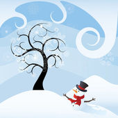Winter scene with tree and snowman