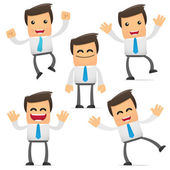 Set of funny cartoon office worker in various poses for use in presentations etc