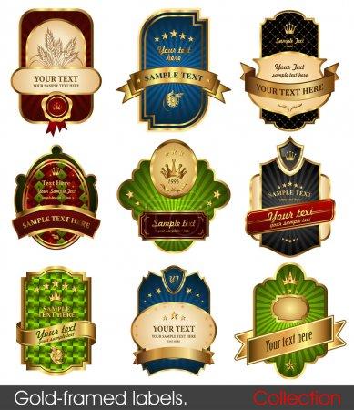 Set of gold-framed labels