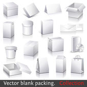 Vector blank packing collection Set of white paper packaging and stationery elements Dummies set to place your design on