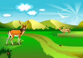 Vector illustration of an idyllic sunny nature background with a blue gradient stripes sky; birds; green grass layers of grass and romantic sky;