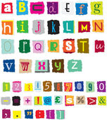 Different styles of ransom style designed alphabet and numbers