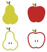 Apple and pears pattern silhouettes over white background