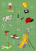 Kreslený Golfová sada ikon