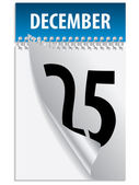 Tearing down blue december calendar
