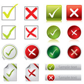 Tick and cross stickers, buttons, and symbols