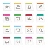 Collection of labels with fabric care symbols isolated on white