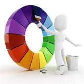 Hombre 3D pintura una rueda de color