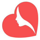 The stylized image of a white female silhouette in red heart Isolated on a white background